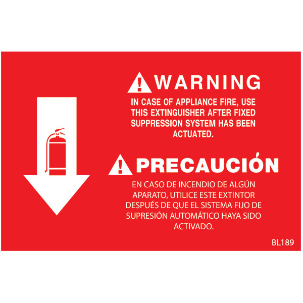 Self-Adhesive Vinyl Fire Extinguisher Sign BL189